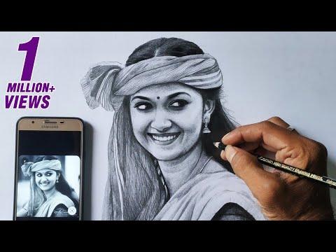 Keerthi Suresh pencil drawing video