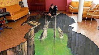 Объемные картинки животных(Некоторые художники умеют рисовать на полу, стенах, асфальте объемные картинки животных. Кто хоть раз увиде..., 2015-01-07T09:46:34.000Z)