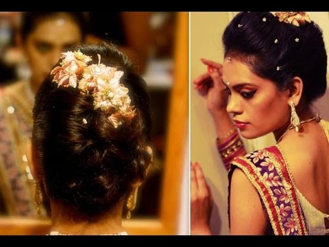 French Roll Hairstyle For Indian Wedding