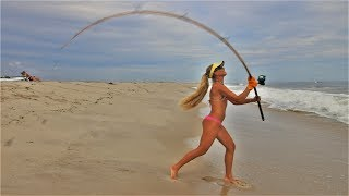 Fishing With Vintage Gear! Surf Fishing With Antique Rod & Reel!
