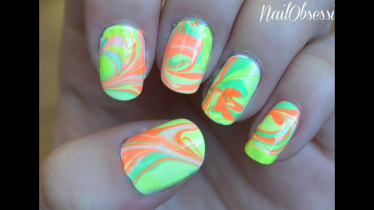 easy neon tie dye nails water