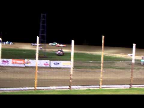 101 9927 2013-09-14 Devils Lake Speedway Pure Stock Darin get the checkered Flag