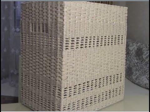 Корзина для белья из бумажных трубочек. Сочетание узоров.