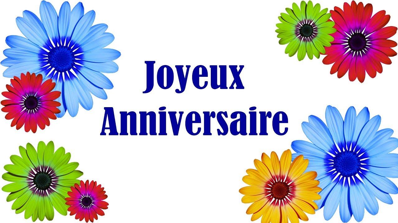 Joyeux anniversaire , Carte virtuelle anniversaire , fleurs et jolie musique