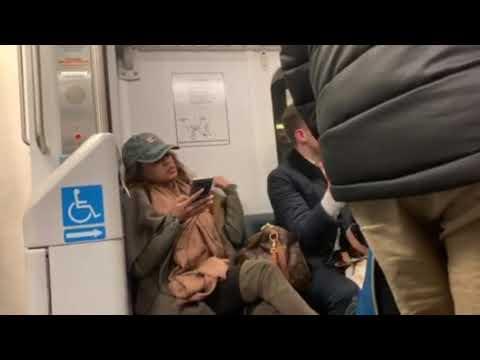 Rude NJ Transit passenger refuses to move her bag