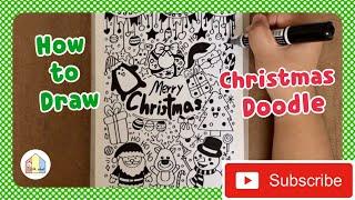 Christmas Doodle สอนวาดรูปวันคริสต์มาสง่ายๆ | สอนศิลปะออนไลน์ By บ้านศิลปะ_little_school