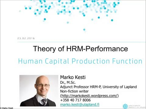 HRM-P Human Capital Production Function