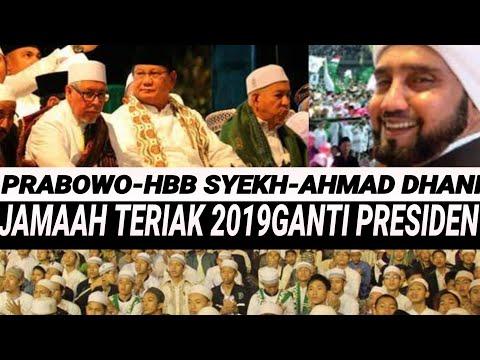 PRABOWO-HABIB SYEKH-AHMAD DHANI;JAMAAH SERUKAN 2019GANTIPRESIDEN;SURABAYA BERSOLAWAT TUGU PAHLAWAN
