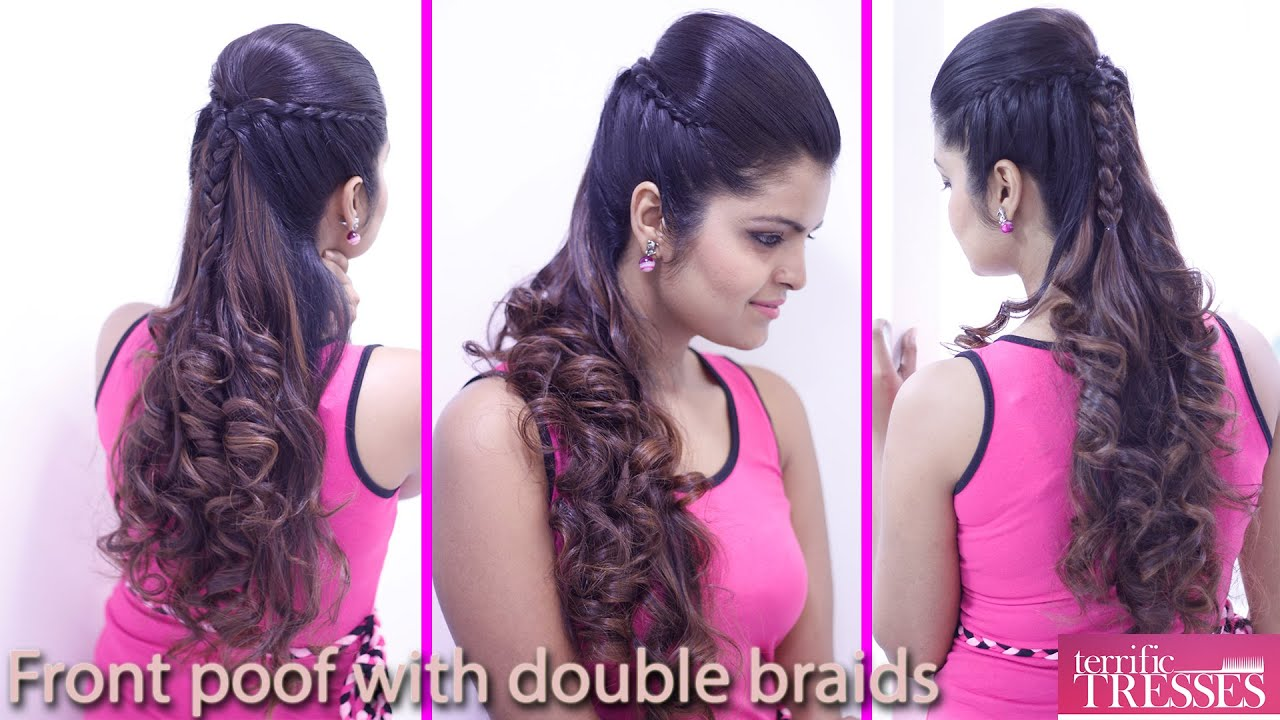 how to make front puff hair style front poof with braid hair style 3186