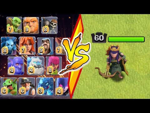 ALL MAX TROOPS Vs. MAX ARCHER QUEEN - Clash Of Clans | Level 60 Archer Queen