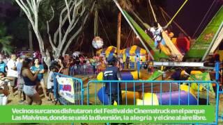 """Municipalidad de Santiago de Surco: Cinema -Truck se llevó a cabo en el parque """"Las Malvinas"""""""