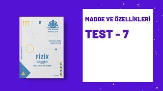 Çöz Kazan Fizik Soru Bankası Madde ve Özellikleri Test 7