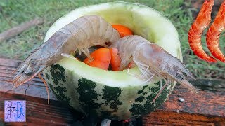 Tôm Sú Luộc Trong Trái Dưa Gang Đậm Chất Sinh Tồn .Primitive Technology : Shrimp Cooked Melon