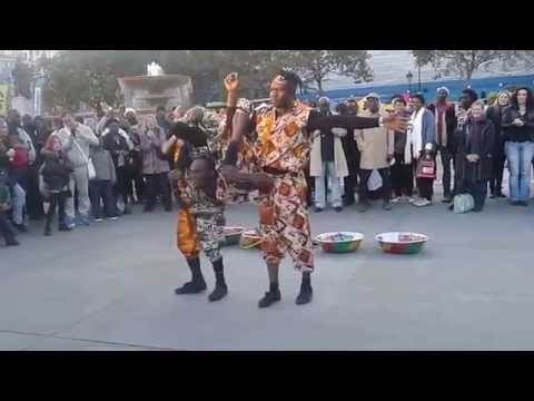 Live show at Trafalgar Square London - African acrobats