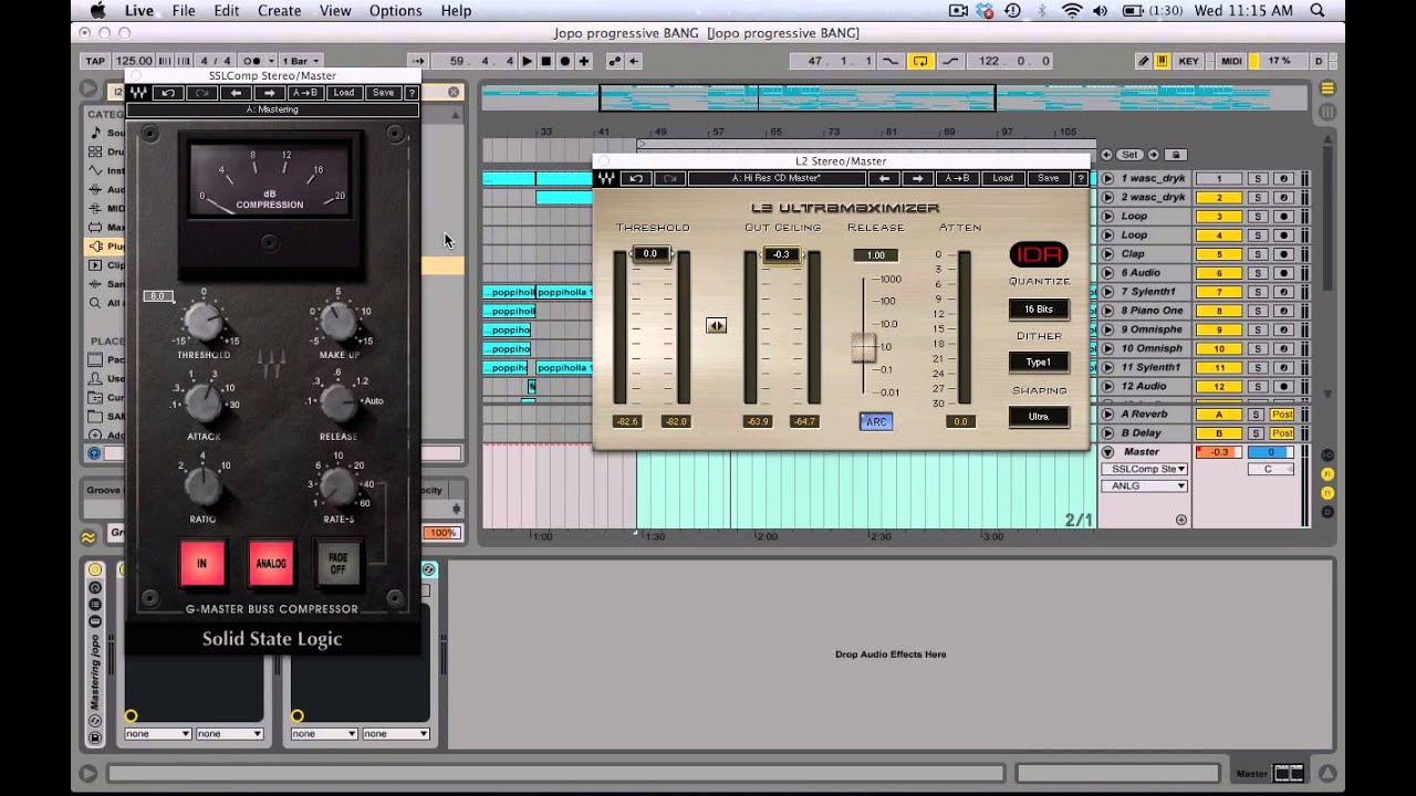 ableton live 9 tutorial mastering using waves ssl compressor and l2 limiter youtube. Black Bedroom Furniture Sets. Home Design Ideas