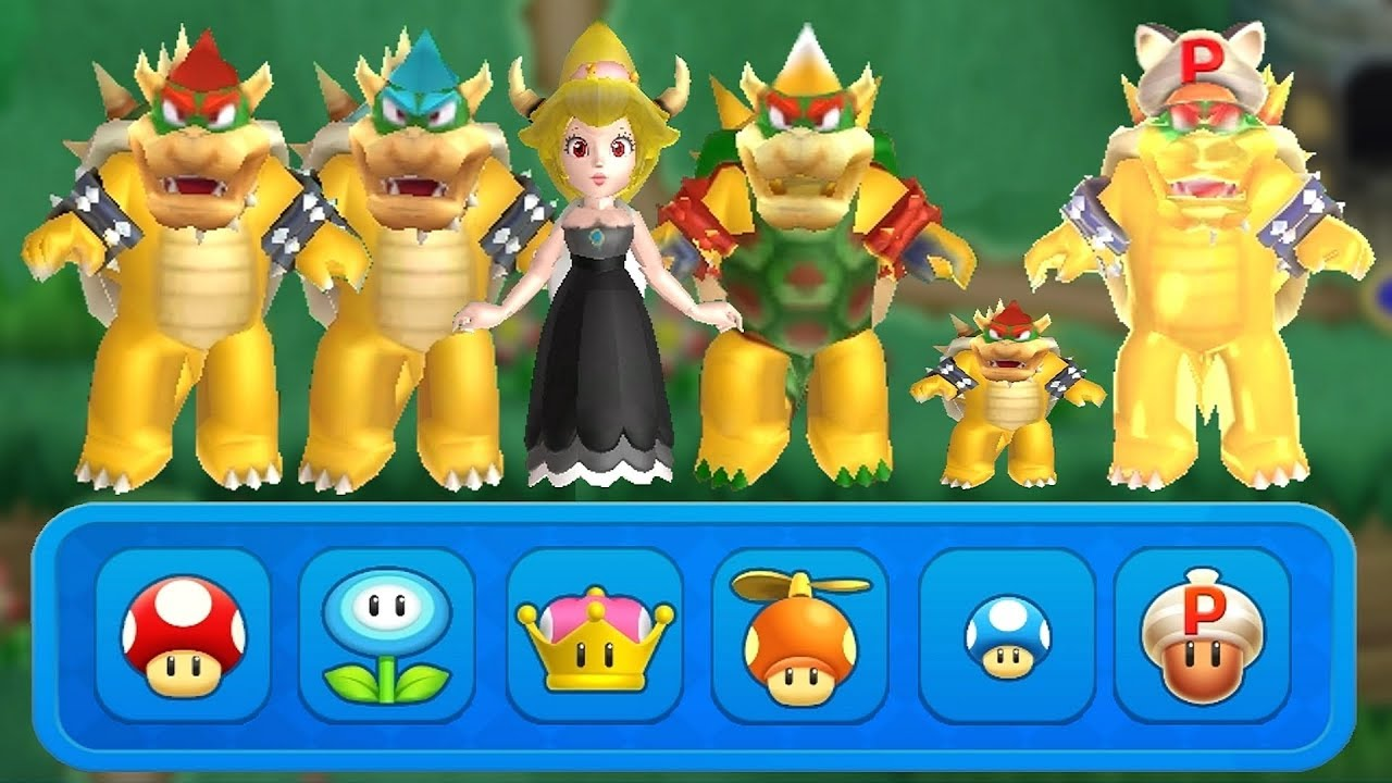 New Super Mario Bros U Deluxe All Bowser Power Ups Youtube