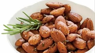 Roasted & Salted Almonds   भुने हुये नमकीन बादाम । Salted and Roasted almonds in a pan