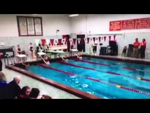 Tommy Russell sets WHS 100 Backstroke Record 54.51. (No sound)