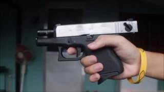We Glock 26 Chrome Semi/Full Auto (Shooting Test Airsoft Video)