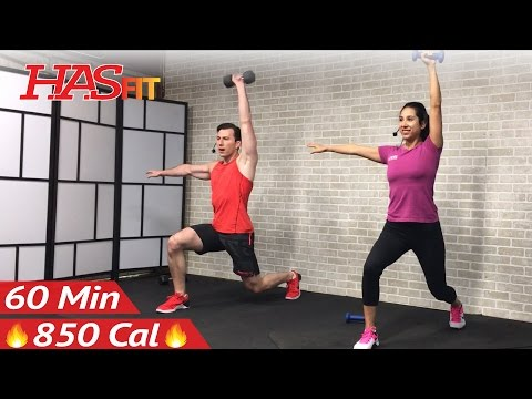 60 Minute HIIT Workout with Weights  Abs  Full Body Dumbbell High Intensity Workout at Home