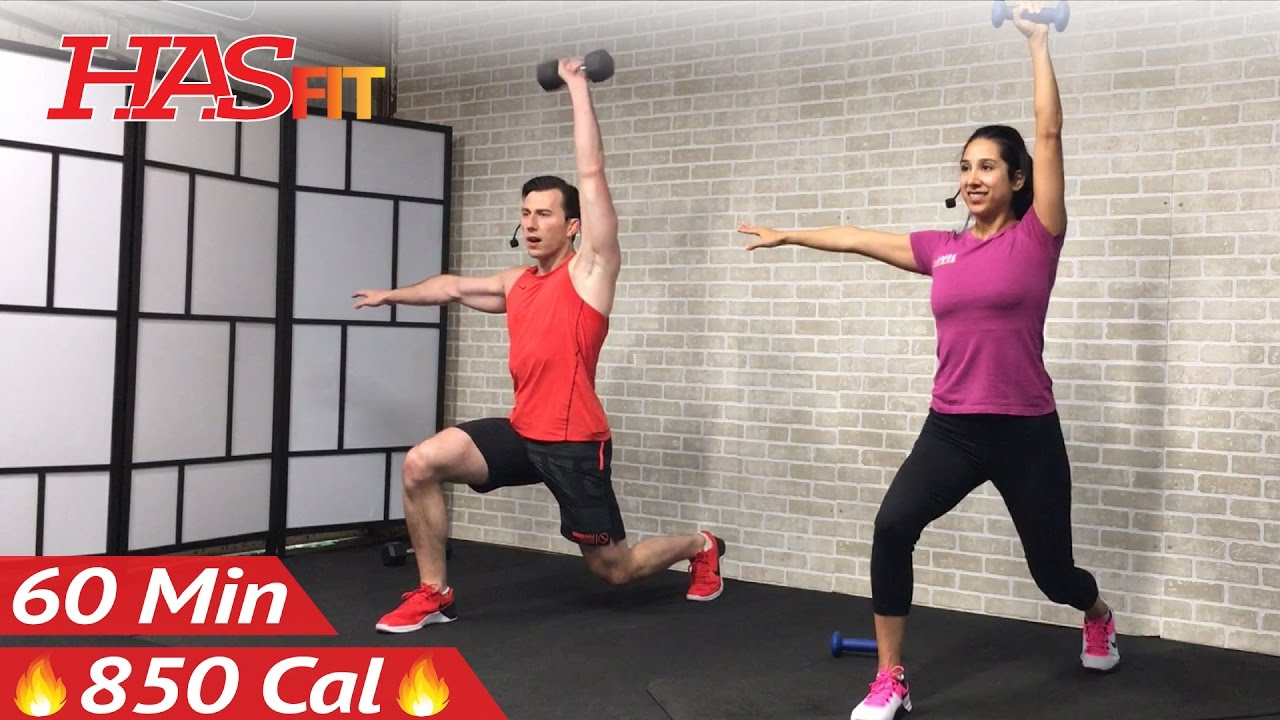 60 Minute HIIT Workout with Weights + Abs - Full Body Dumbbell High Intensity Workout at Home