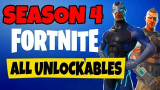 FORTNITE | All Season 4 Battle Pass Unlockables (No Commentary/Raw Edit)
