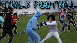 7vs7 BACK YARD TACKLE FOOTBALL HALLOWEEN EDITION!! Afro Gets Busted Off!!