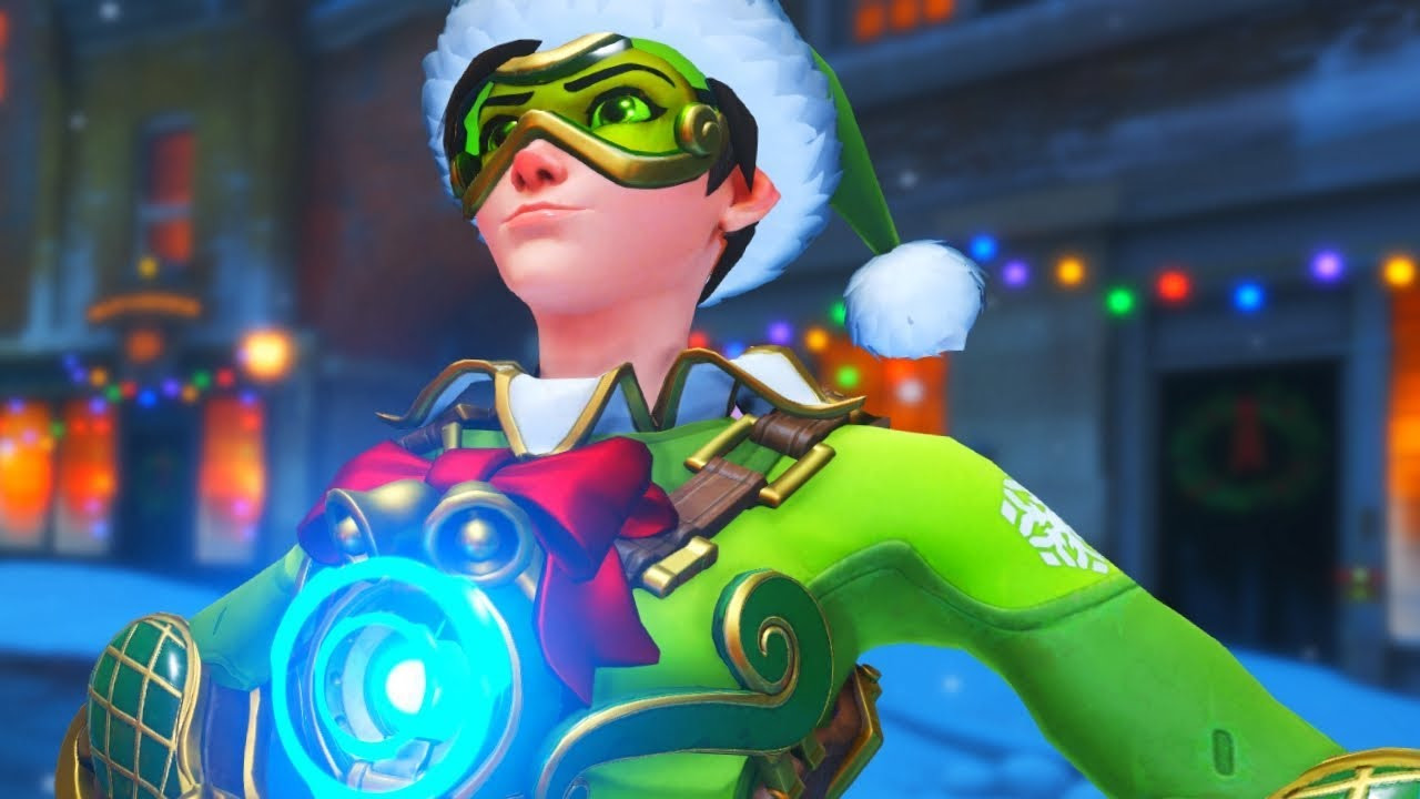 Tracer Christmas Skin.Overwatch Jingle Christmas Tracer Legendary Skin Gameplay Winter Wonderland