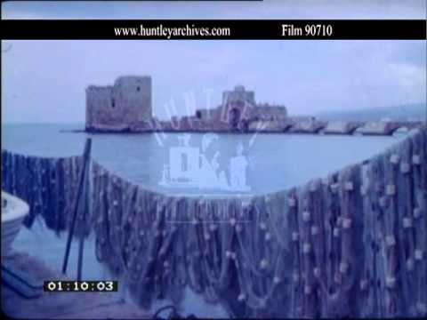 Lebanon.  Sidon. City with harbour or port. Cafe, 1968.  Film 90710