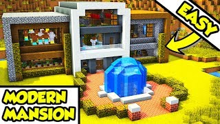 Minecraft Modern Mansion Survival House Tutorial (How to Build)