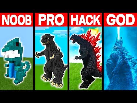 NOOB vs PRO vs HACKER vs GOD: KING OF MONSTERS BUILD BATTLE IN MINECRAFT! - Animation