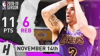 Lonzo Ball Full Highlights Lakers vs Trail Blazers 2018.11.14 - 11 Pts, 6 Reb