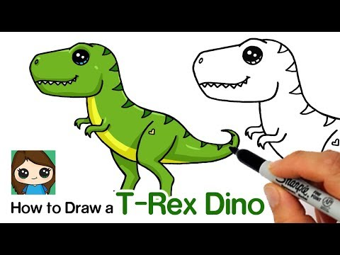How To Draw A T Rex Dinosaur Easy Youtube