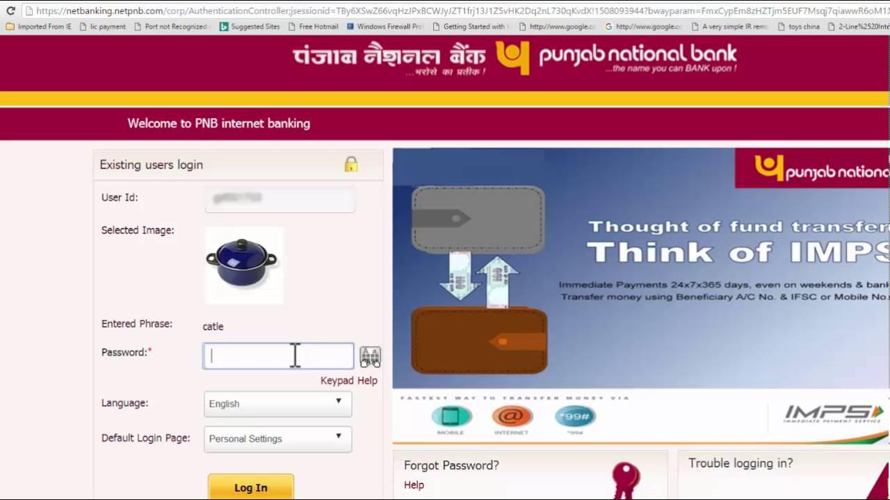 punjab national bank internet banking personal