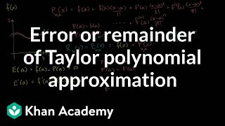 Error or Remainder of a Taylor Polynomial Approximation
