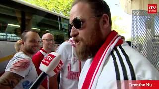 Aankomst supporters FC Emmen in Rotterdam