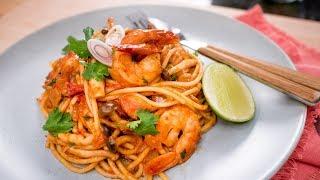 Tom Yum Spaghetti สปาเก็ตตี้ต้มยำกุ้ง   Thai Recipe