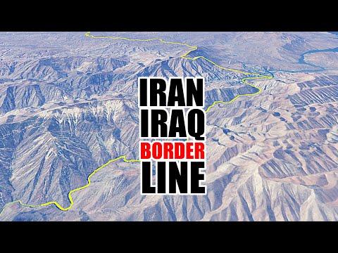Iran–Iraq border line aerial view