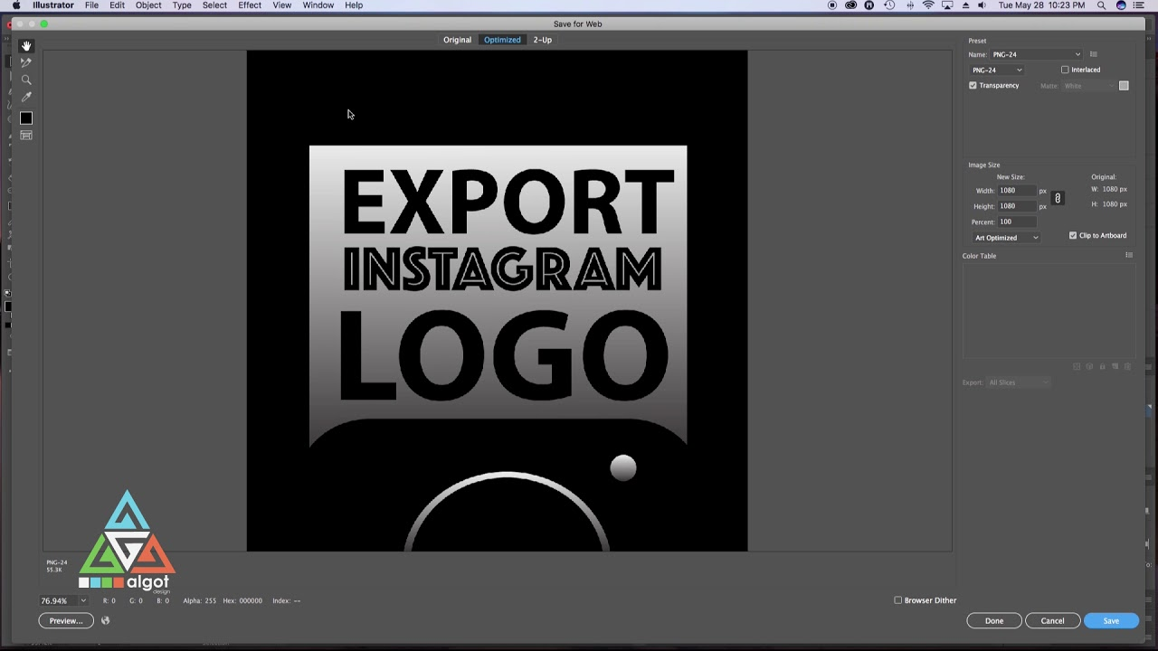 How To Export Instagram Logo Or Graphics Adobe Illustrator Size File Type Image Quality