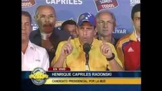 Henrique Capriles Radonski No reconoce Resultados del CNE 14 Abril. (Completo)