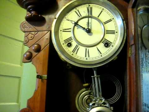 Victorian Waterbury 8 Day Gingerbread Clock Working!