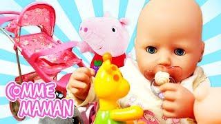 Vidéo en français pour enfants. Déballage d'une poussette pour Bébé Born Annabelle