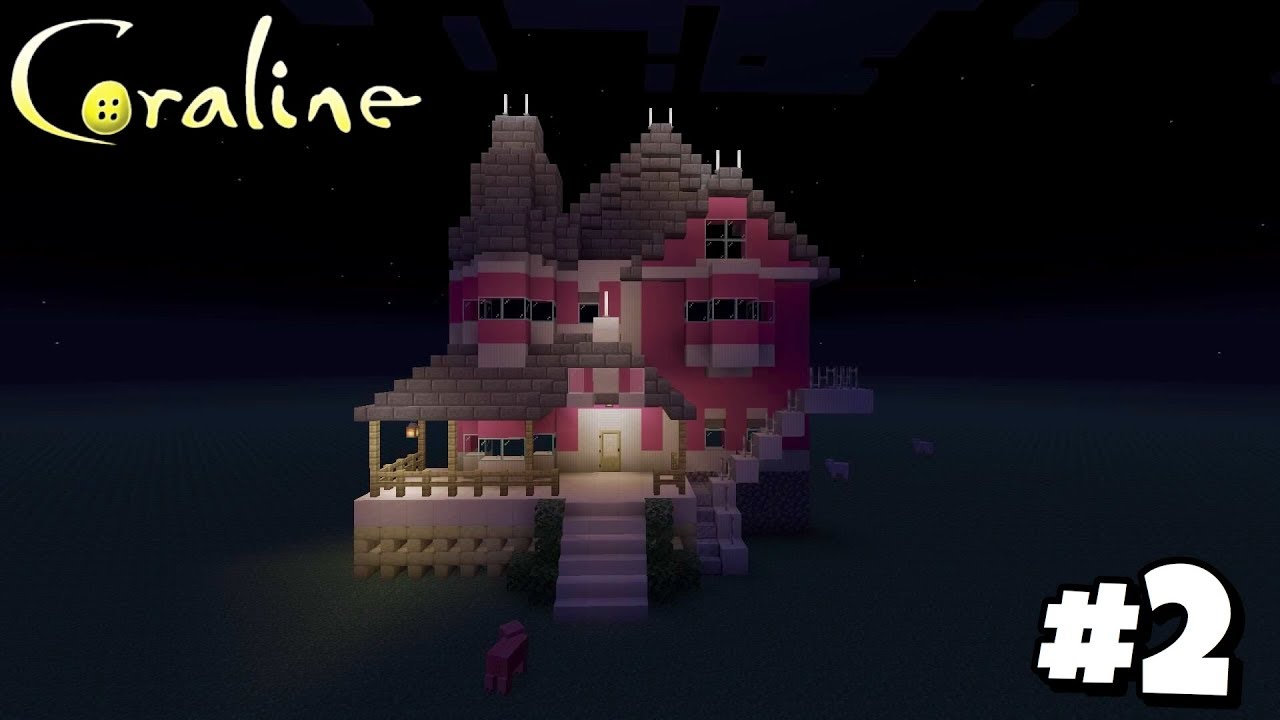 Building Coraline S House Pink Palace Apartments 2 Front Roof Minecraft Ps4 Youtube