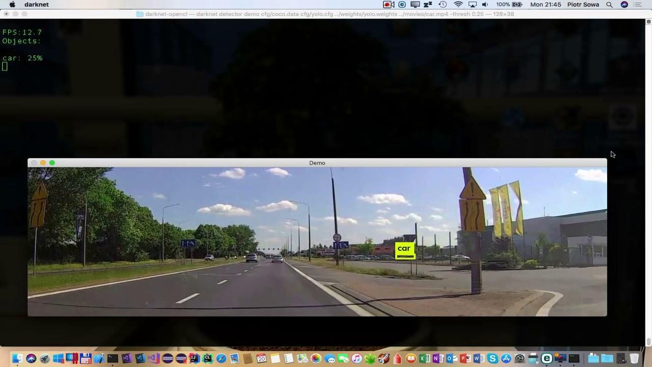 Car See by DarkNet CNN on MacBookPro 13 with Sonnet