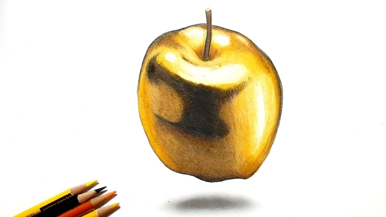 色鉛筆で金のリンゴを描いてみた Draw a golden apple