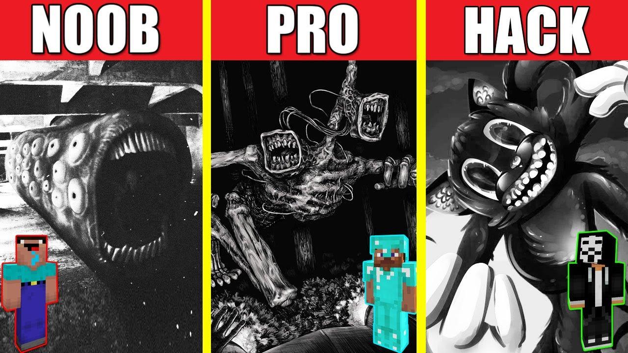 TRAIN EATER VS SIREN HEAD VS CARTOON CAT HOUSE BUILD CHALLENGE - NOOB vs PRO vs HACKER / Minecraft