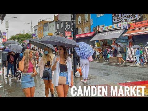 Walking London's in Rain Busy Camden Market London Summer - August 2021 [4K HDR]