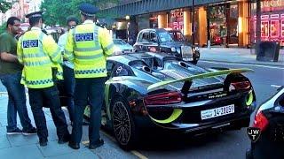 """""""فيديو"""" شاهد شرطة لندن تخالف سيارة بورش 918 سبايدر كويتية"""