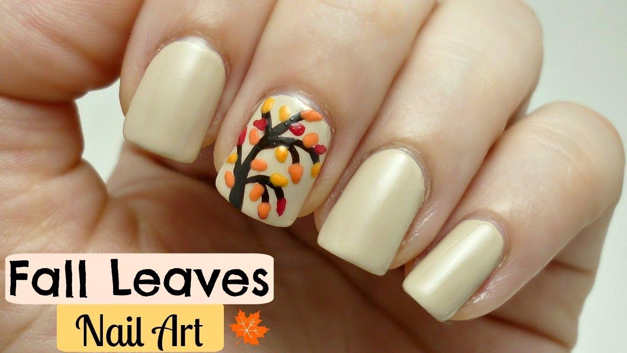 easy fall leaves nail art design