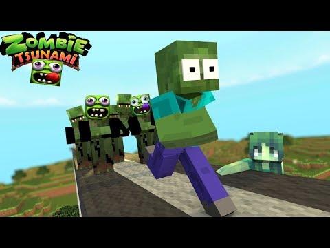 Monster School: ZOMBIE TSUNAMI CHALLENGE!! - Minecraft Animation thumbnail